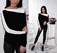 Трикотажный свитер из турецкой пряжи с оригинальным декором и бусинами, женские свитера оптом от производителя