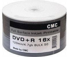 Диски CMC Magnetics DVD+R 4,7 GB 16x, Full-face inkjet printable white, Bulk/50