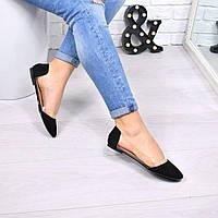 Балетки женские Vendy черная замша, обувь женская