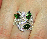 Кольцо серебро 925 проба 17.5 размер АРТ1021 Зеленые, фото 1