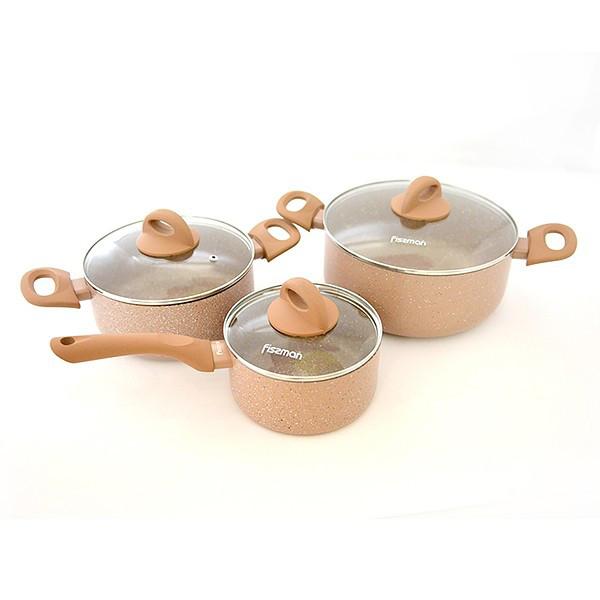 Набор посуды Fissman Latte 6 пр. (Алюминий с антипригарным покрытием, стеклянные крышки)