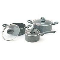 Набор посуды Fissman VULCANO 6 пр. (Алюминий с антипригарным покрытием, стеклянные крышки)