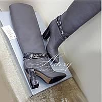 Женские серые кожаные сапоги с питоном