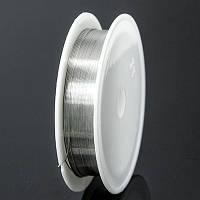 Проволока железная для рукоделия, цвет - серебро,  0,4 мм/12 м