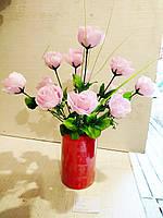 Искусственные цветы роза 12 голов высота 43см