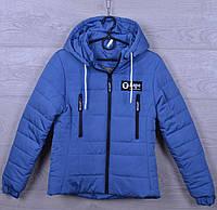 """Куртка подростковая демисезонная """"AaPe"""" для девочек. 10-14 лет. С вертикальными карманами. Синий джинс. Оптом., фото 1"""