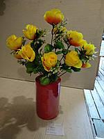 Искусственные цветы роза 12 голов