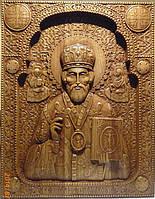 Резные иконы из дерева.Икона Николая Чудотворца резная, фото 1