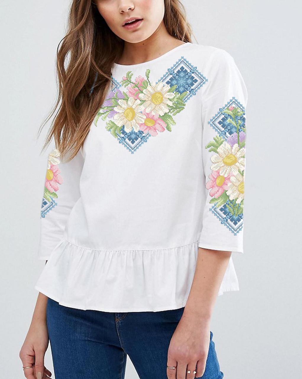 Заготовка вишиванки жіночої сорочки та блузи для вишивки бісером Бисерок  «Ромашки в голубому» (Б-146г ) 20e4e873f96cd