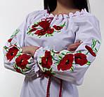 Женская батистовая вышиванка с полевыми  маками , фото 3