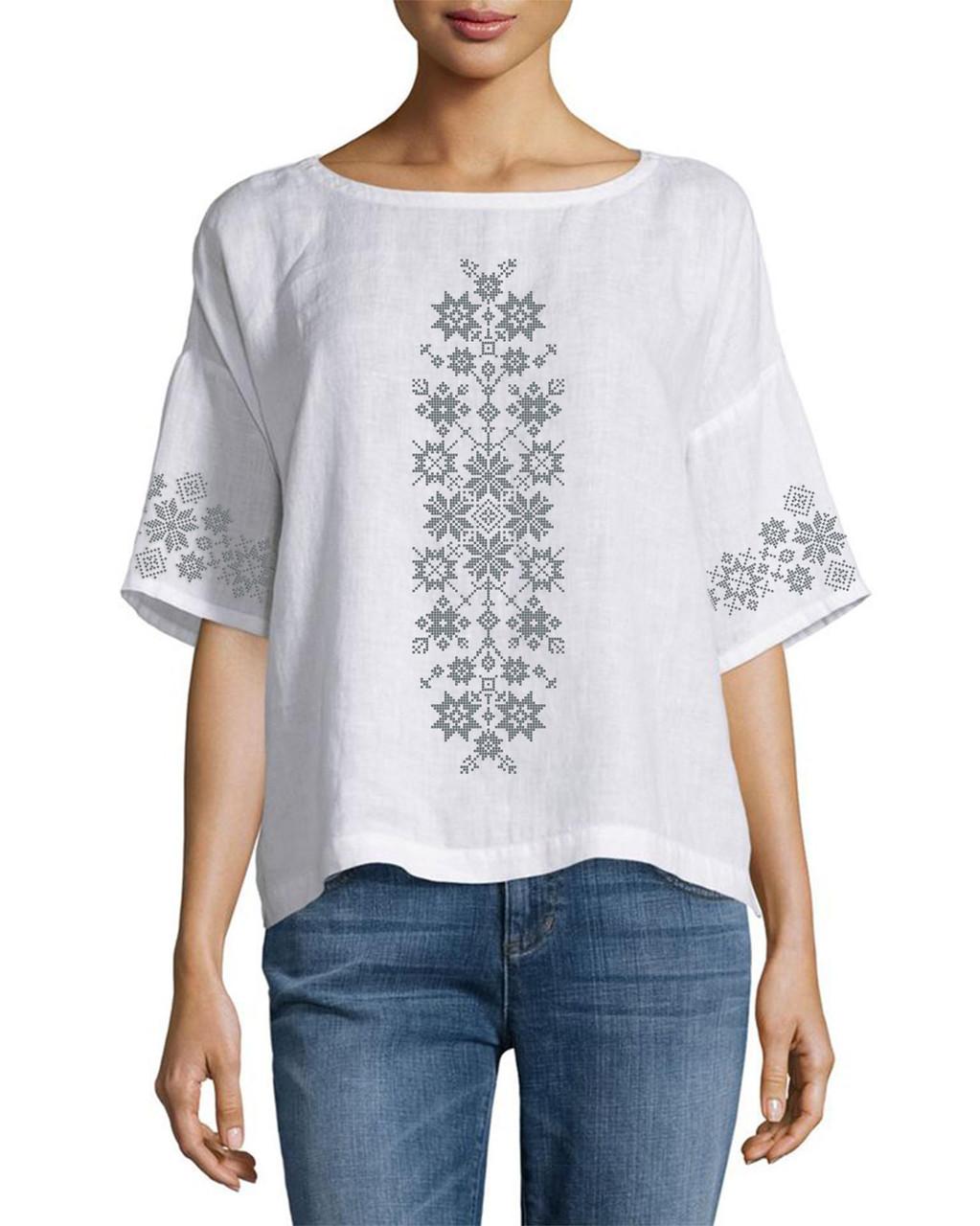 Заготовка вишиванки жіночої сорочки та блузи для вишивки бісером Бисерок «Візерунки-1» (Б-149-1 )