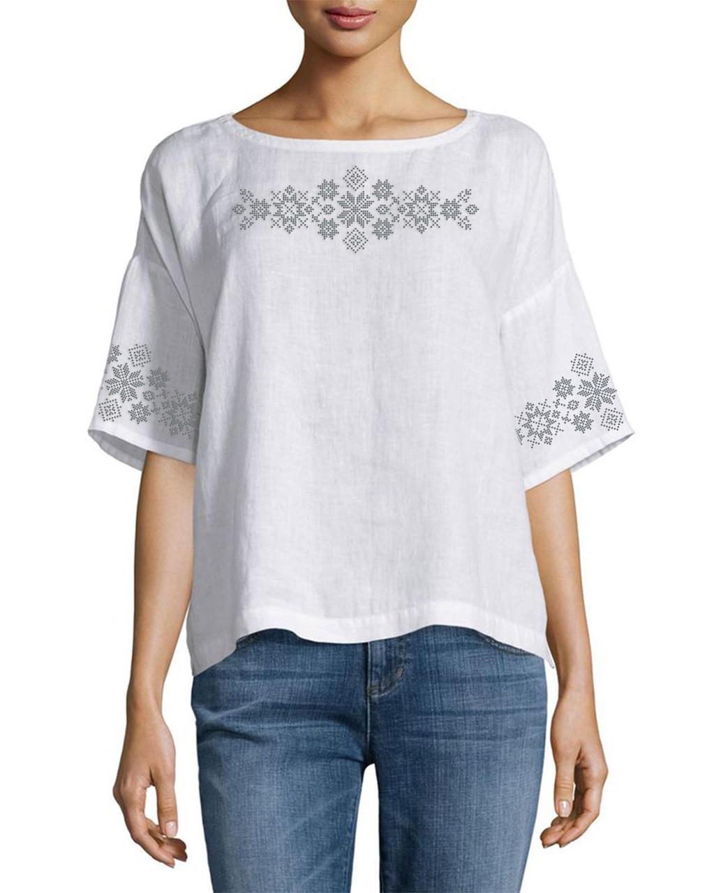 Заготовка вишиванки жіночої сорочки та блузи для вишивки бісером Бисерок «Візерунки» (Б-149 )