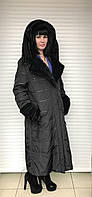 Пальто с мехом норки на верблюжьей шерсти Larssny большие размеры