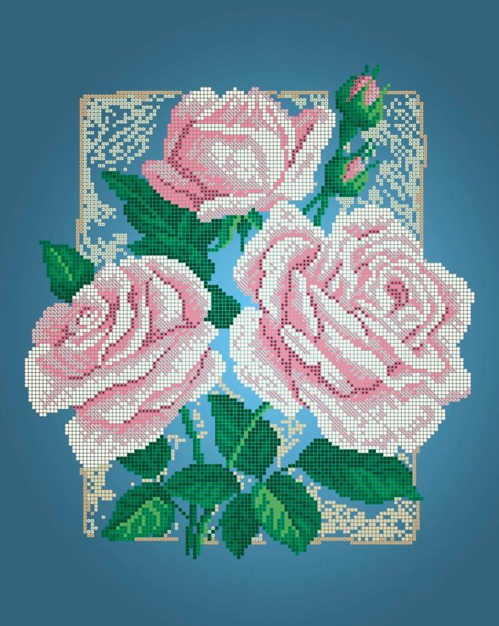 Схема для вишивки та вишивання бісером Бисерок квіти «Три рози» (A3) 30x40 (ЧВ-5125(10))