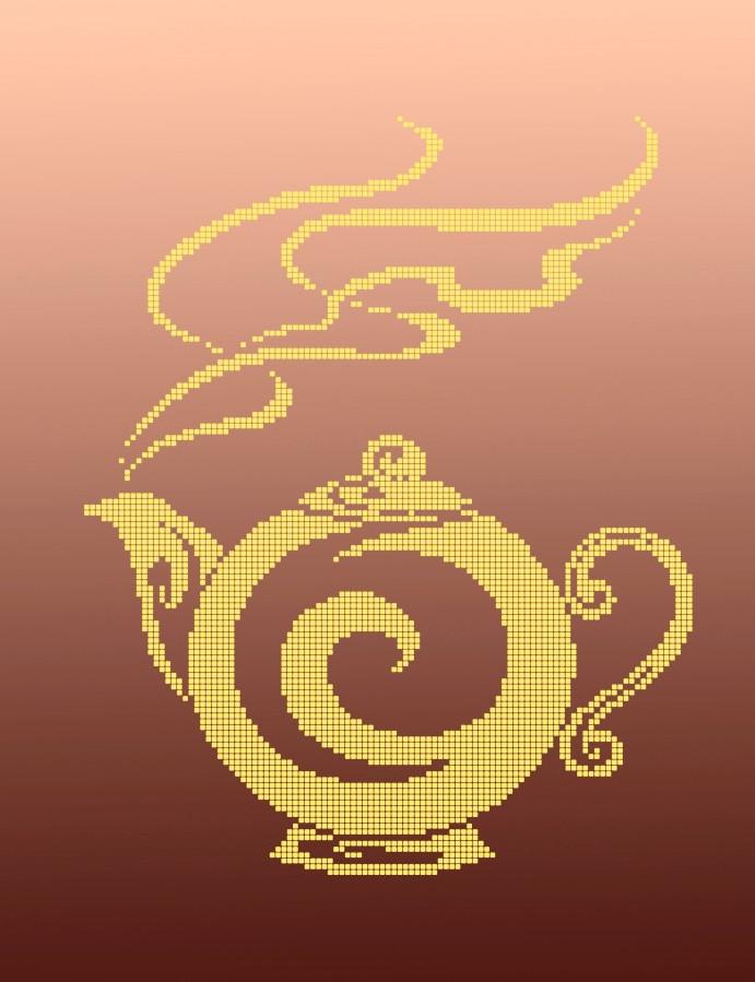 Схема для вишивки та вишивання бісером Бисерок «Чайник  монохром» (A3) 30x40 (ЧВ-5127(10))