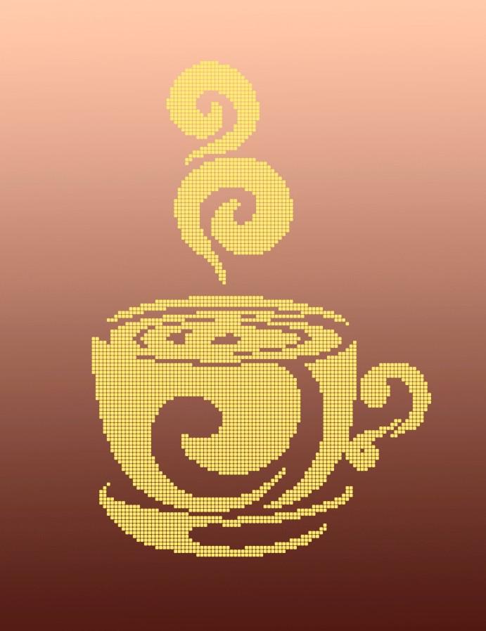 Схема для вишивки та вишивання бісером Бисерок «Чашка монохром» (A3) 30x40 (ЧВ-5128(10))
