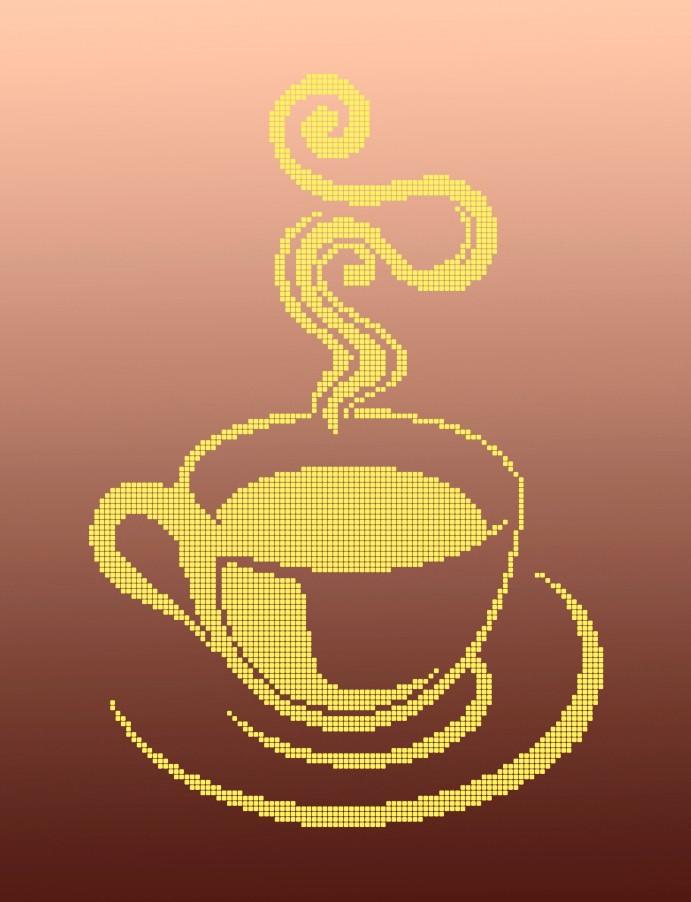 Схема для вишивки та вишивання бісером Бисерок «Чашка чая монохром» (A3) 30x40 (ЧВ-5130(10))