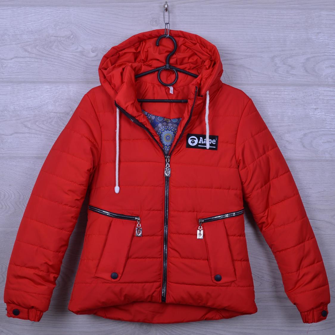 """Куртка подростковая демисезонная """"AaPe"""" для девочек. 10-14 лет. Красная. Оптом."""