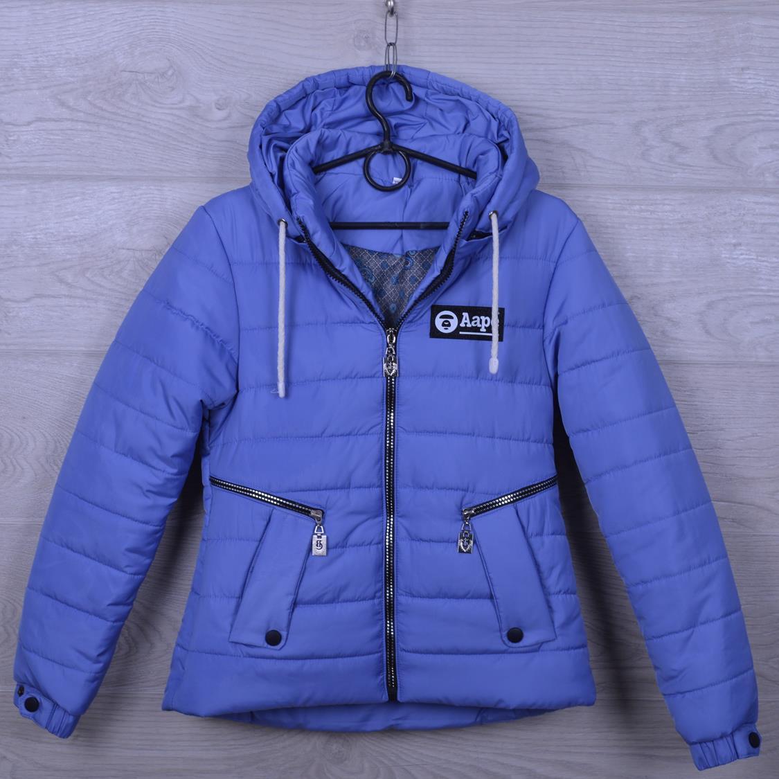 """Куртка подростковая демисезонная """"AaPe"""" для девочек. 10-14 лет. Синий джинс. Оптом."""