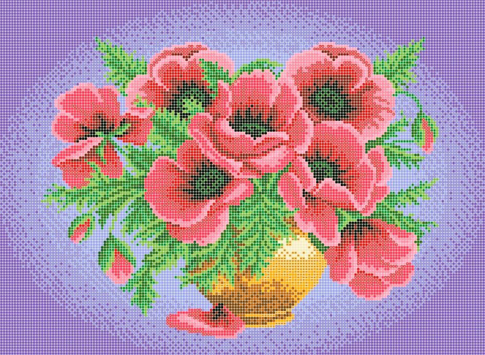 Схема для вишивки та вишивання бісером Бисерок «Рожеві маки» (A3) 30x40 (ЧВ-5136(10))