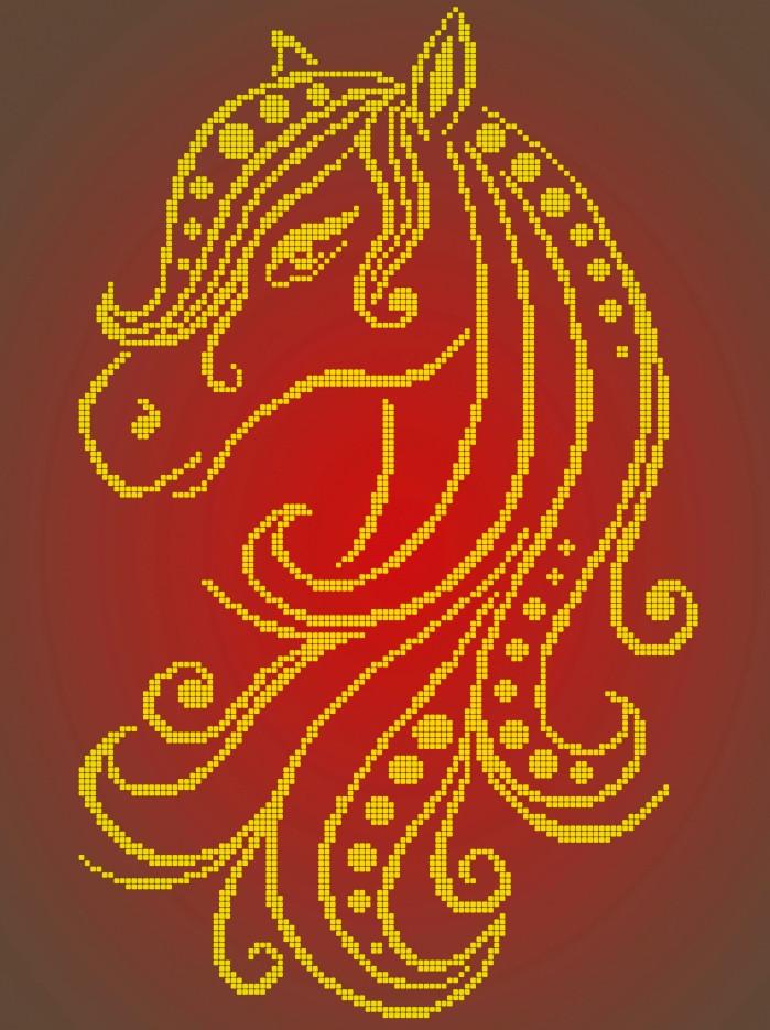 Схема для вишивки та вишивання бісером Бисерок «Кінь монохром» (A3) 30x40 (ЧВ-5139(10))