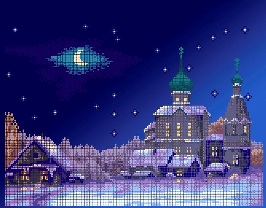 Схема для вишивки та вишивання бісером Бисерок «Різдвяний вечір» (A3) 30x40 (ЧВ-5142(10))