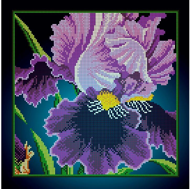 Схема для вишивки та вишивання бісером Бисерок квіти «Ірис макро» (A3) 30x40 (ЧВ-5144(10))