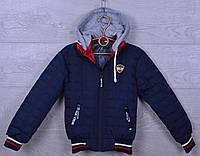 """Куртка детская демисезонная """"FS"""" с трикотажным капюшоном для мальчиков. 1-5 лет. Синяя. Оптом., фото 1"""