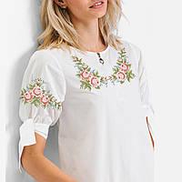 Заготовка вишиванки жіночої сорочки та блузи для вишивки бісером Бисерок  «Маленькі трояндочки» (Б 85db0f216b06f