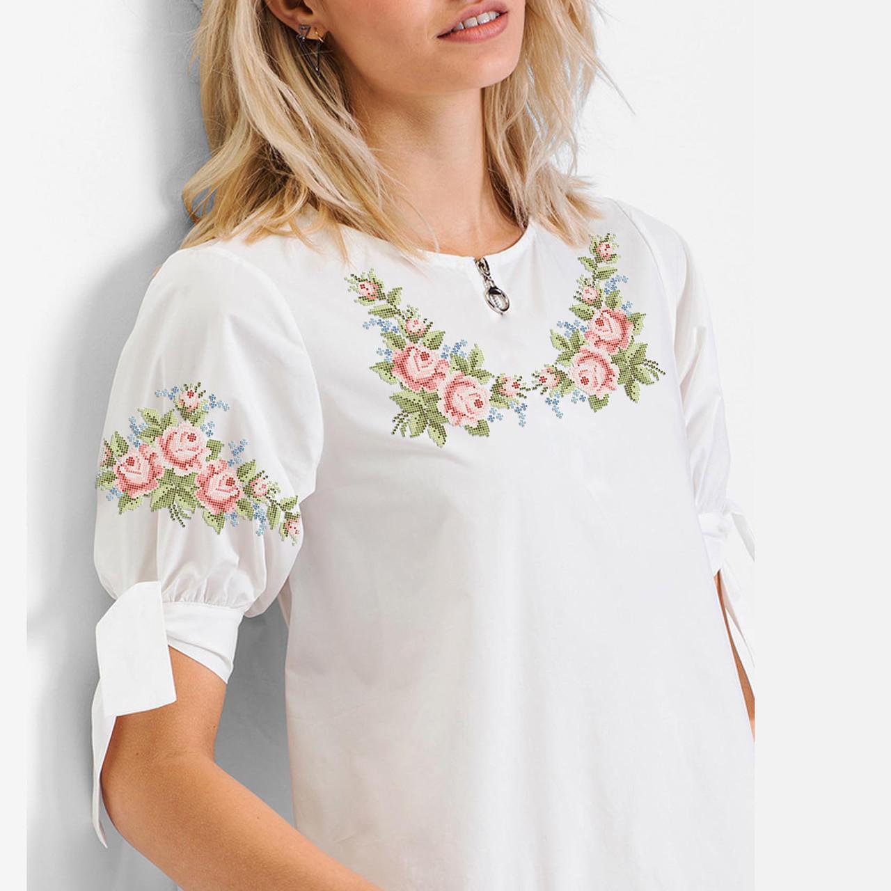 Заготовка вишиванки жіночої сорочки та блузи для вишивки бісером Бисерок «Маленькі трояндочки» (Б-140 )