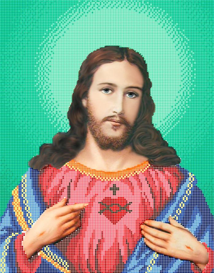 Схема для вишивки та вишивання бісером Бисерок ікона «Серце Ісуса» (A3) 30x40 (ЧВ-5206(10))