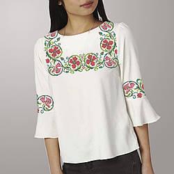 Заготовка вишиванки жіночої сорочки та блузи для вишивки бісером Бисерок « Віночок з гвоздик» ( 49a030ec86a12