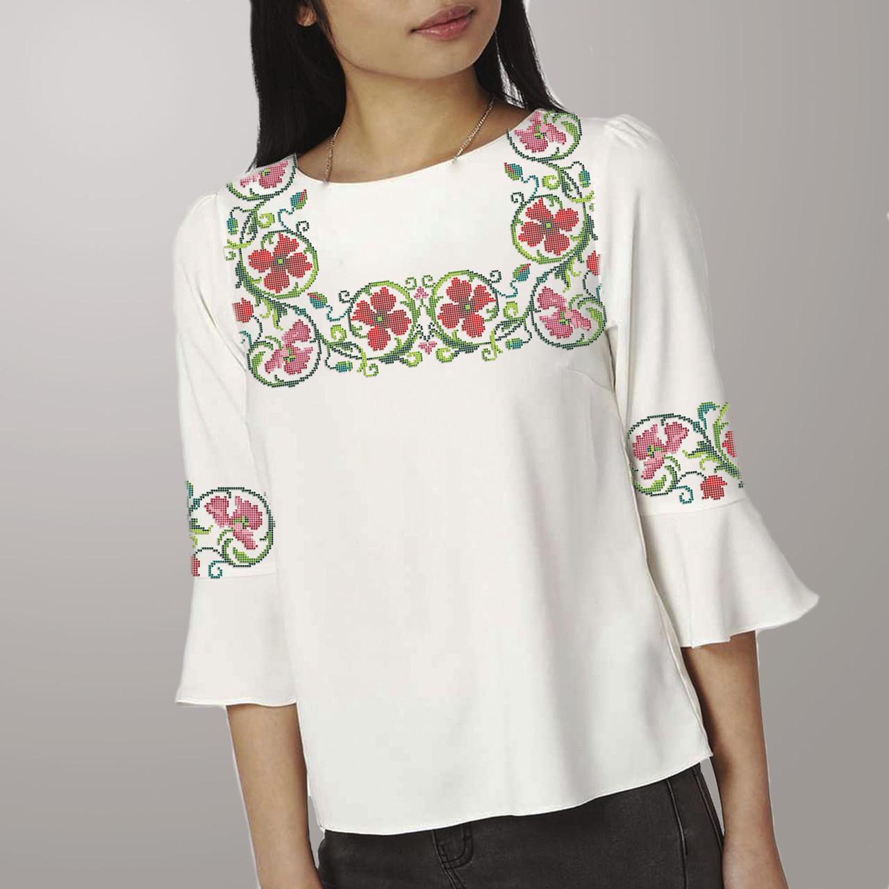 Заготовка вишиванки жіночої сорочки та блузи для вишивки бісером Бисерок «Віночок з гвоздик» (Б-139 )