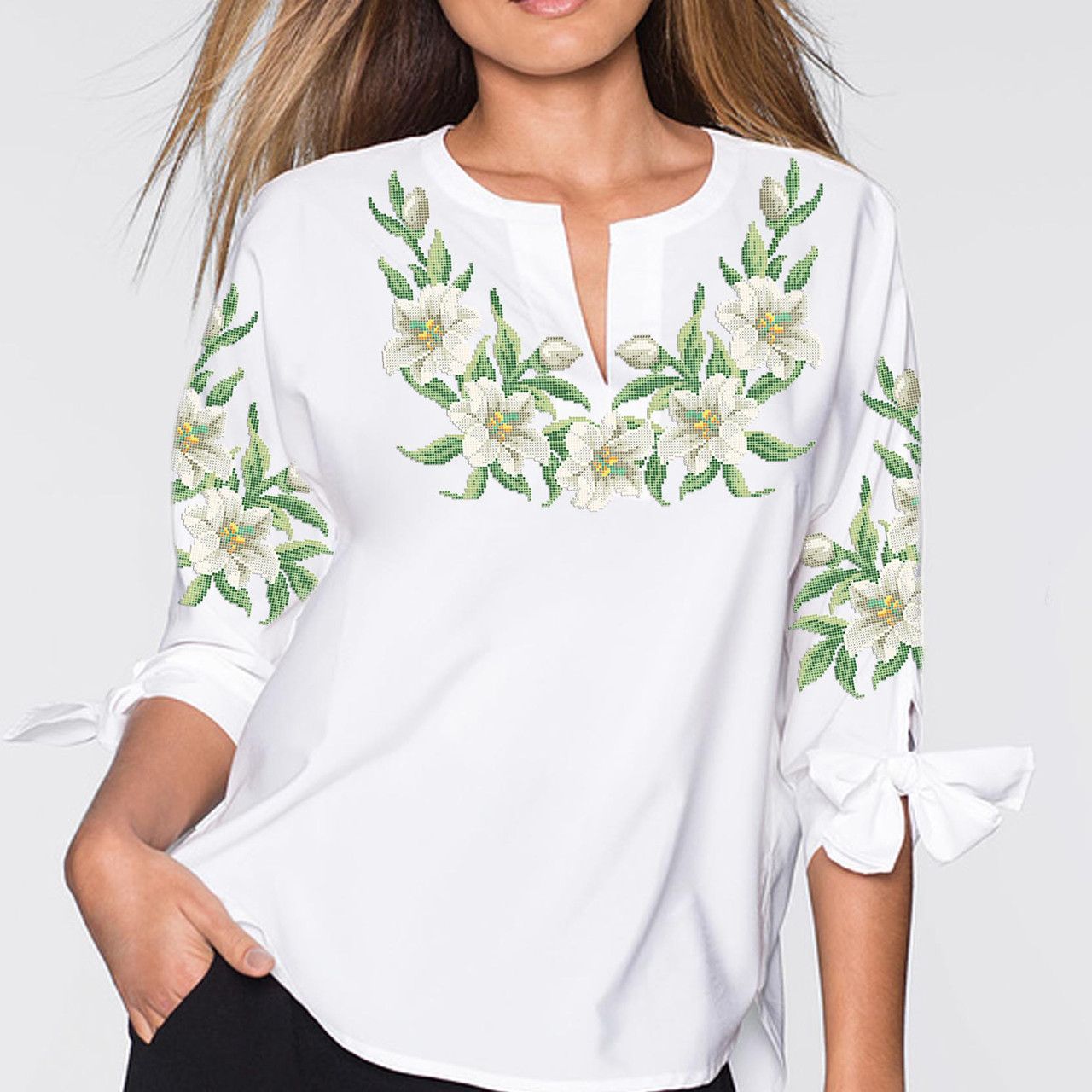 Заготовка вишиванки жіночої сорочки та блузи для вишивки бісером Бисерок  «Лілії 138» (Б-138 )