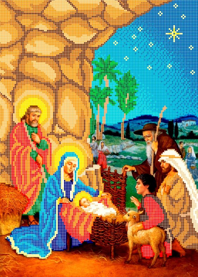 Схема для вишивки та вишивання бісером Бисерок «Різдво» (A3) 30x40 (ЧВ-5079)
