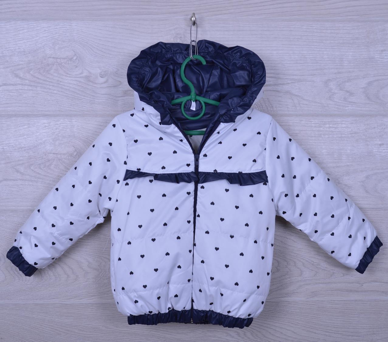 """Куртка-ветровка детская """"Сердца"""" для девочек. 2-6 лет. Белая с синим. Оптом."""