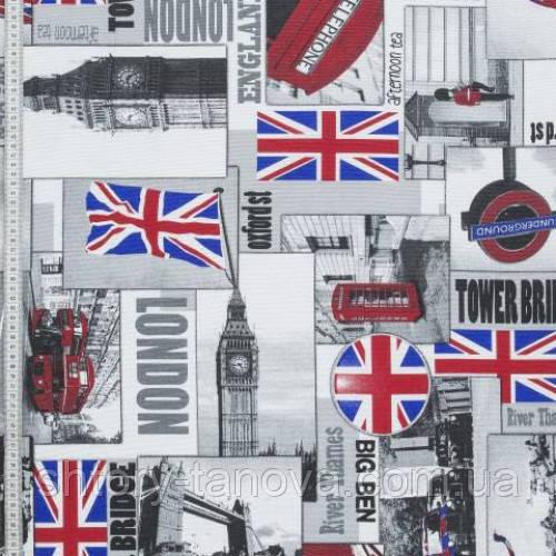 Ткань для штор с городом Лондон