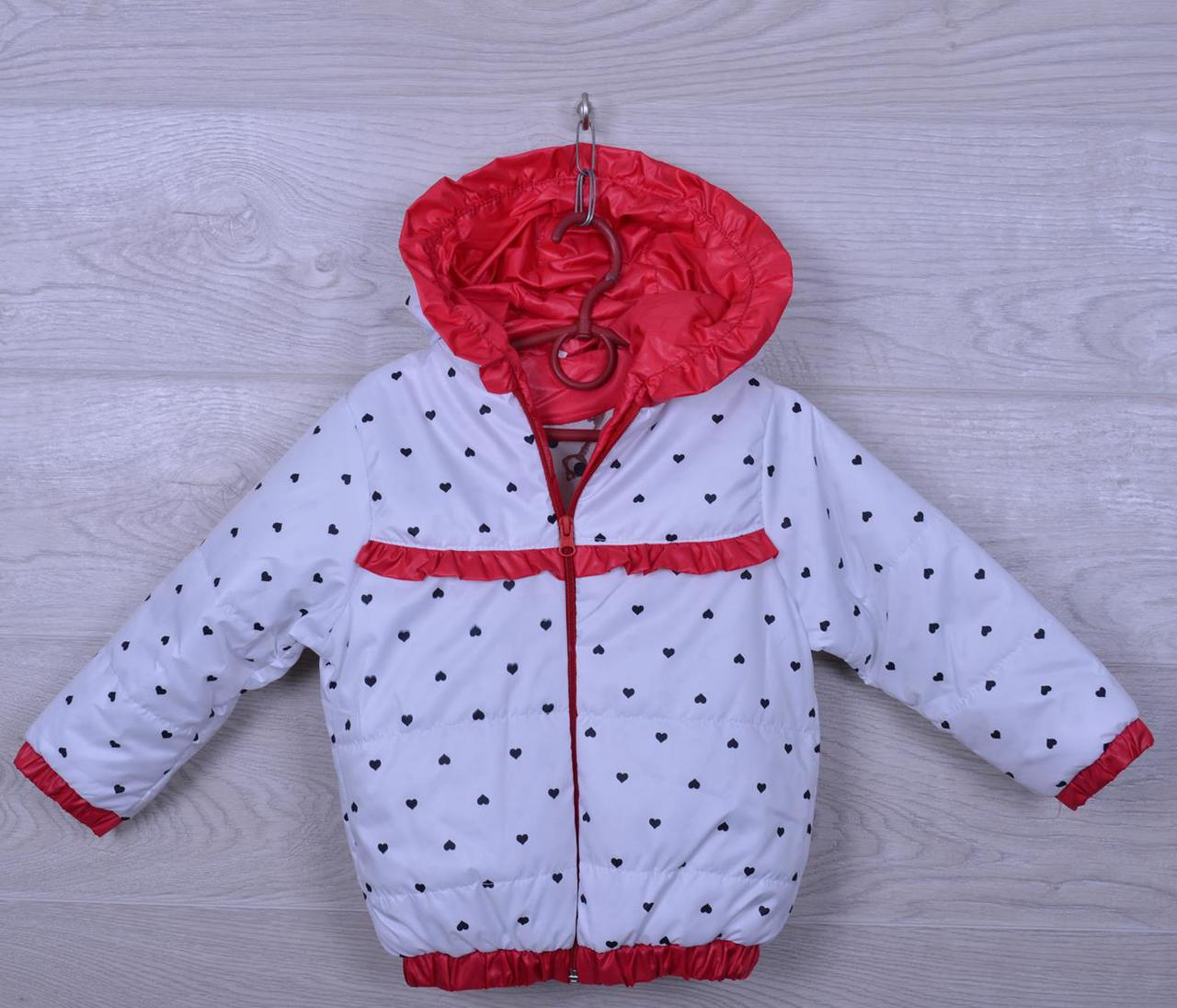 """Куртка-ветровка детская """"Сердца"""" для девочек. 2-6 лет. Белая с красным. Оптом."""