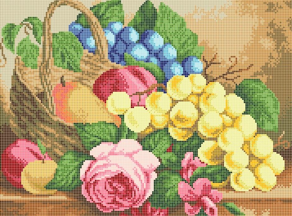 Схема для вишивки та вишивання бісером Бисерок «Натюрморт с виноградом» (A3) 30x40 (ЧВ-5304(10))