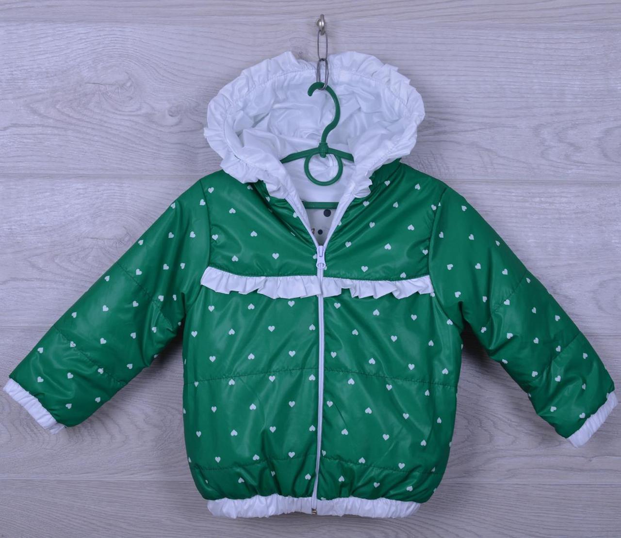"""Куртка-ветровка детская """"Сердца"""" для девочек. 2-6 лет. Зеленая с белым. Оптом."""