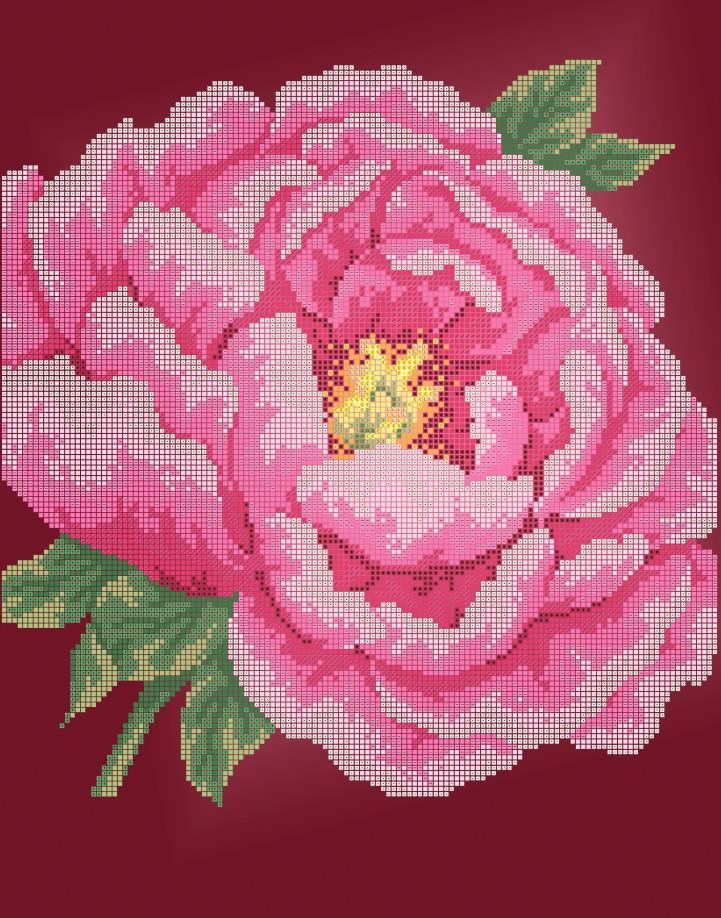 Схема для вишивки та вишивання бісером Бисерок квіти «Півонія» (A3) 30x40 (ЧВ-5308(10))