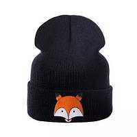 Детская тёплая шапка  хип-хоп с лисой Чёрный