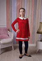 Красное платье в горошек на девочку