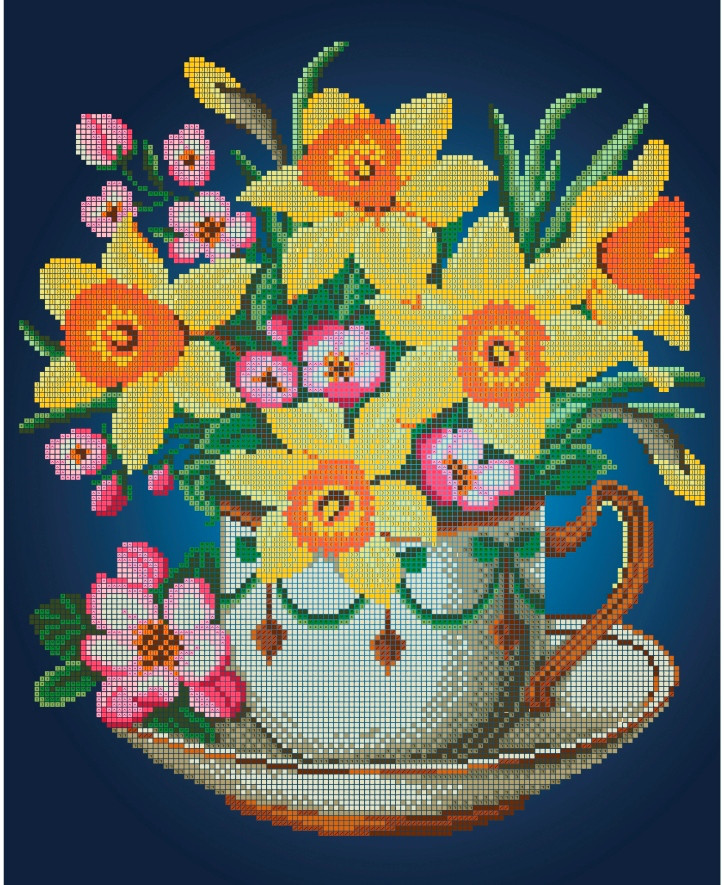 Схема для вишивки та вишивання бісером Бисерок квіти «Нарциси » (A3) 30x40 (ЧВ-5314(10))