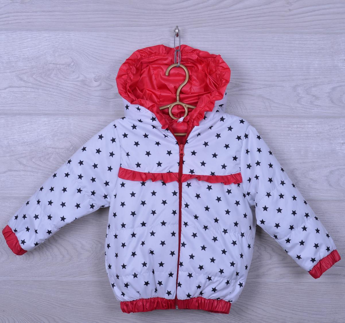 """Куртка-ветровка детская """"Звёзды"""" для девочек. 2-6 лет. Белая с красным. Оптом."""
