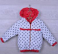 """Куртка-ветровка детская """"Звёзды"""" для девочек. 2-6 лет. Белая с красным. Оптом., фото 1"""