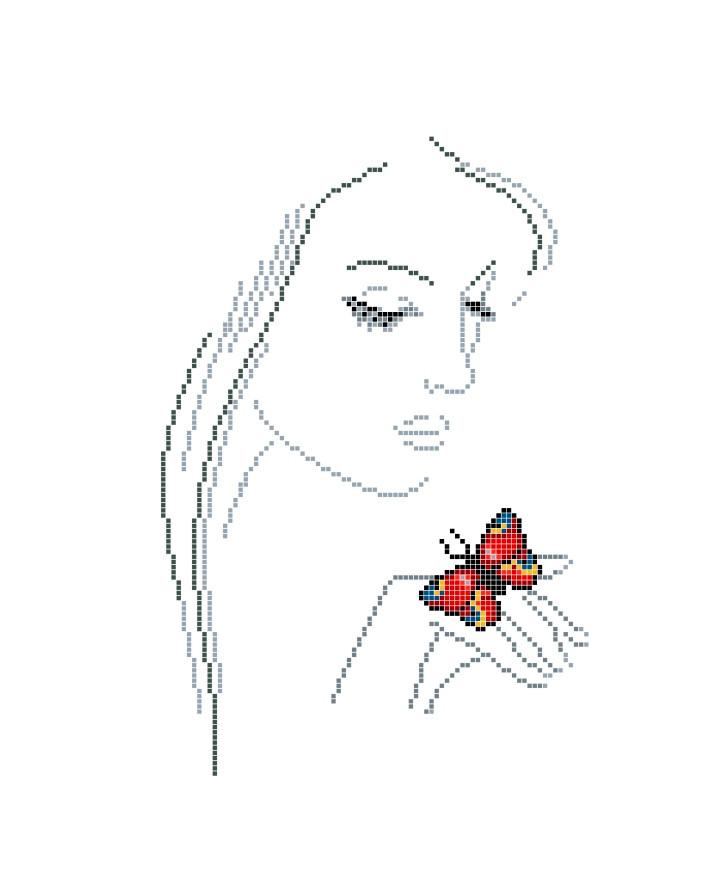 Схема для вишивки та вишивання бісером Бисерок «Поцілунок метелика» (A3) 30x40 (ЧВ-5156(10))