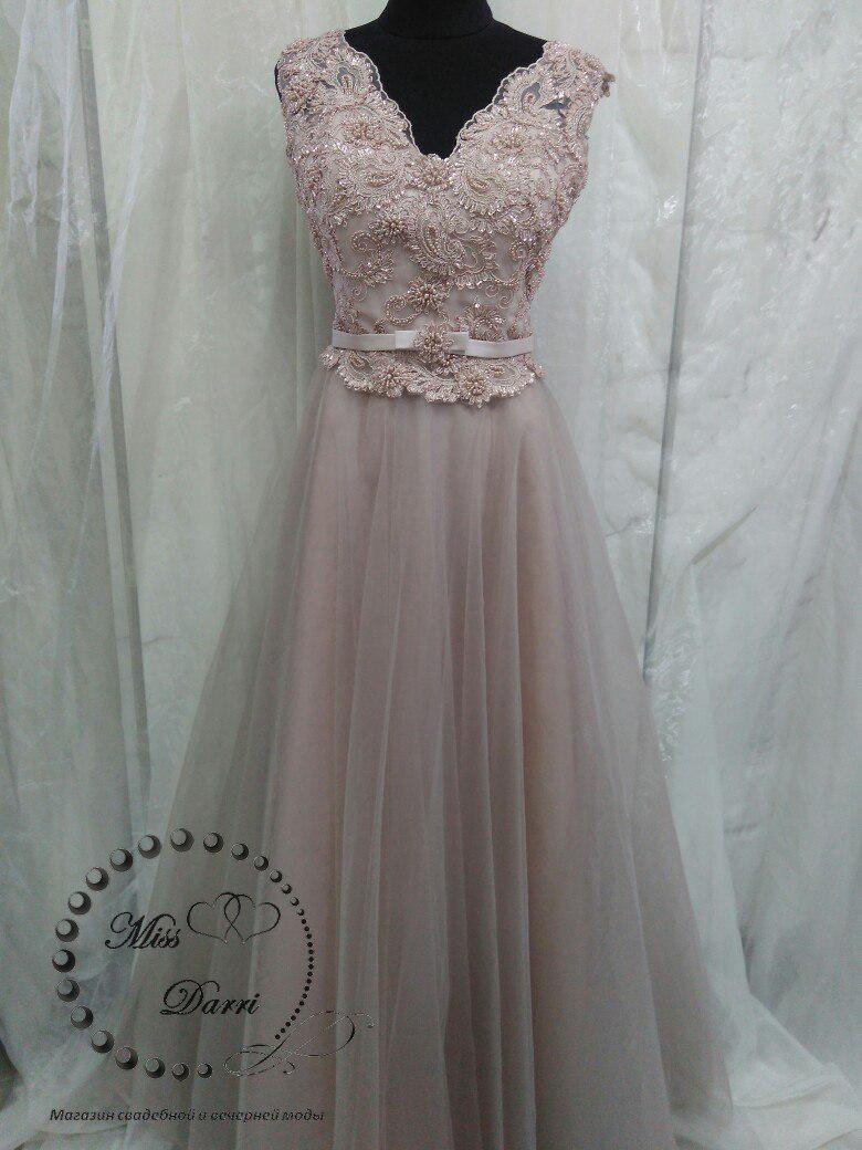3dc5fed5b56 Вечернее выпускное платье длинное цвета кофе с молоком - Магазин свадебной  и вечерней моды Miss Darri