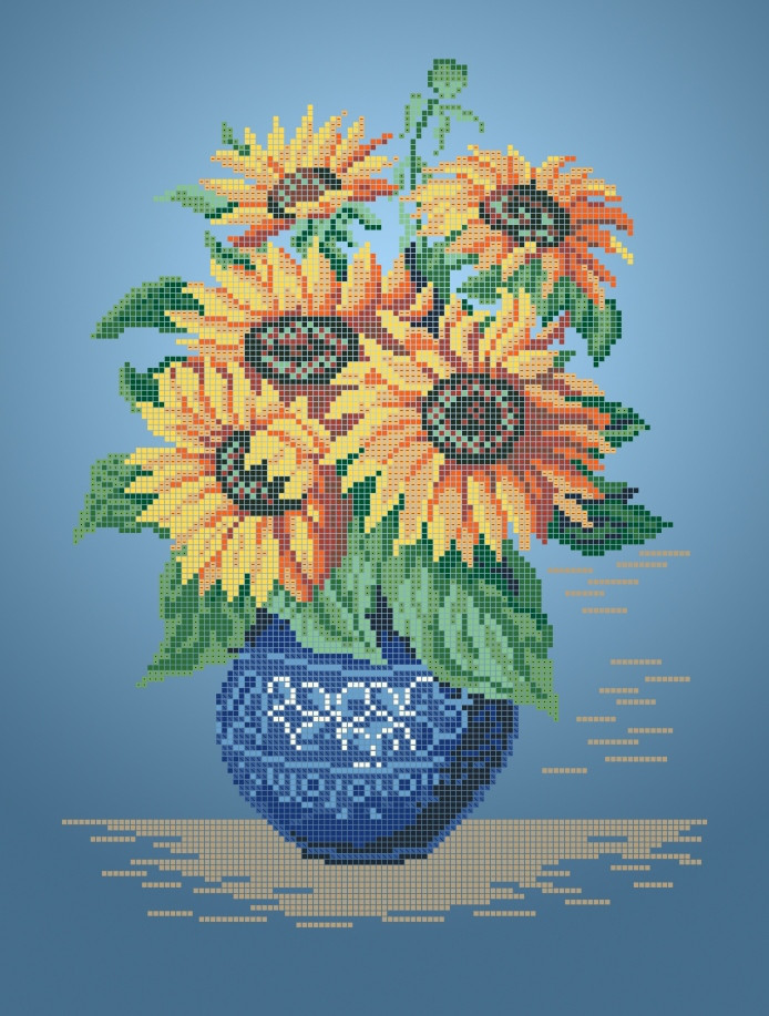 Схема для вишивки та вишивання бісером Бисерок «Подсолнухи в вазе» (A3) 30x40 (ЧВ-5320(10))
