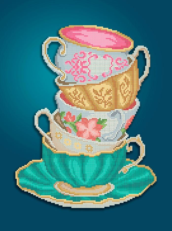 Схема для вишивки та вишивання бісером Бисерок «Чашки» (A3) 30x40 (ЧВ-5323(10))